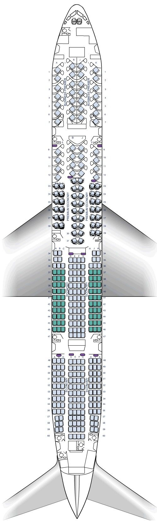 Boeing 777-300er (Air New Zealand seating layout.)