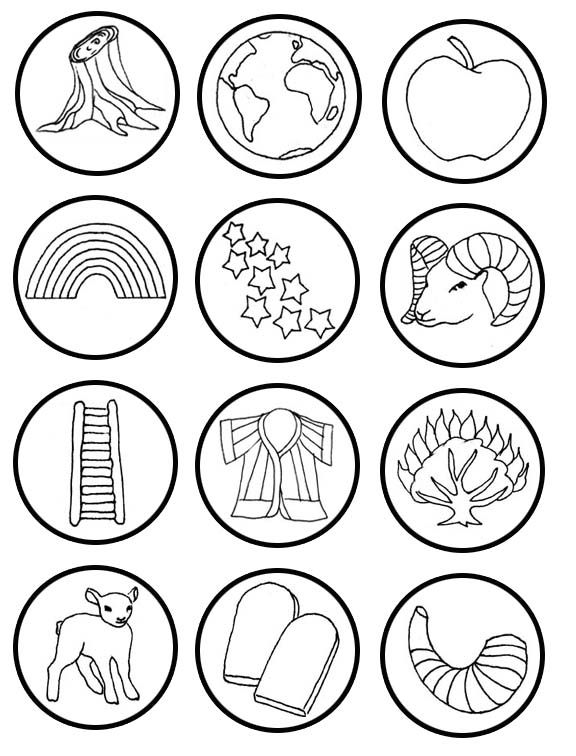 Small Round Jesse Tree Symbols Printable