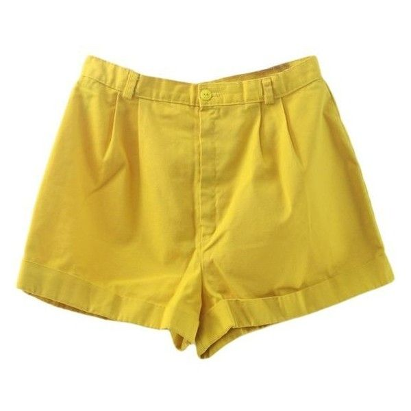 1980's Shorts (A Byer) 80s -A Byer- Womens yellow background cotton h ❤ liked on Polyvore featuring shorts, yellow high waisted shorts, high rise shorts, high-rise shorts, high-waisted shorts and cotton shorts