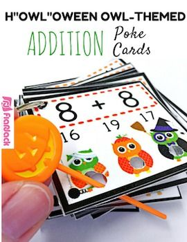 """Poke games are a creative, simple, self-checking way for students to practice their addition facts. And the cute Halloween owl design is perfect for the fall season. My students love them!Check out how poke cards work in my Poke Cards Video.Included inside this title are 144 cards to help students review addition facts 1-12.This title can also be found in my H""""OWL""""oween Owl Poke Math Facts Pack that includes the facts for all four operations at a discount price."""