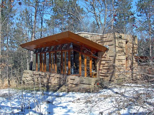 Seth Peterson Cottage, by Frank Lloyd Wright. Small scale country cabin, but still has Wrights signature.  R McN