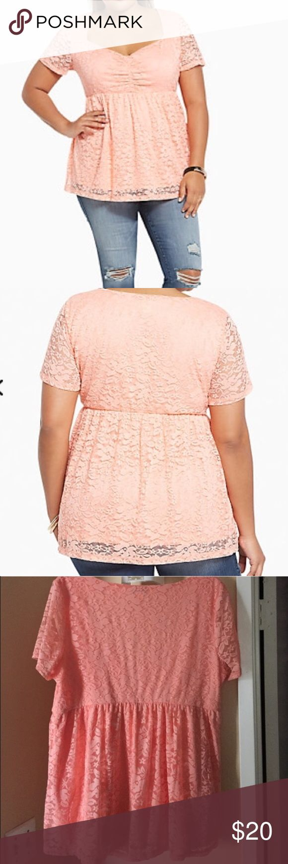 Torrid brand babydoll top size 0 = L Torrid babydoll top. New without tags. Label size 0 conversion size large torrid Tops