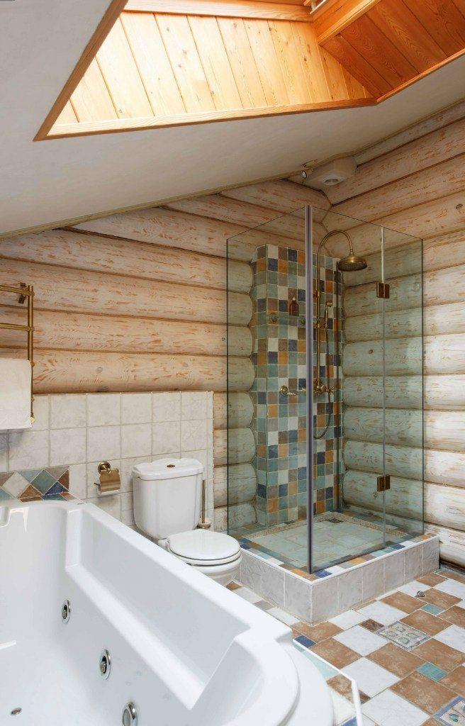 фото бревна в интерьере ванны