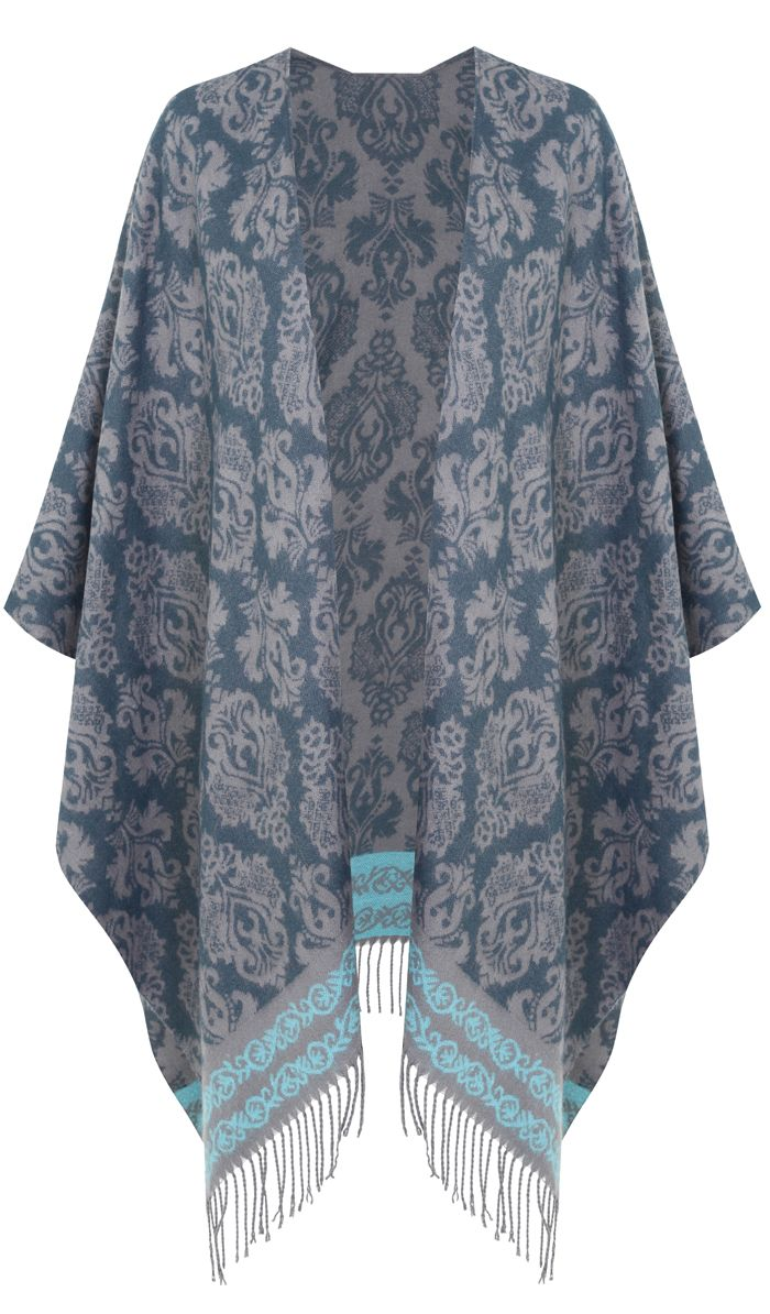 Beautiful Pantone Stormy Weather - a new color for fall (plus size poncho cape) - see more colors & clothing ideas, read article - http://www.boomerinas.com/2015/06/26/10-pantone-fall-colors-for-autumn-2015-winter-2016/