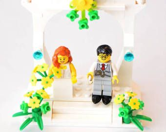 Custom Lego Minifigure Wedding Favors Bridal Cake Topper Or Display V3