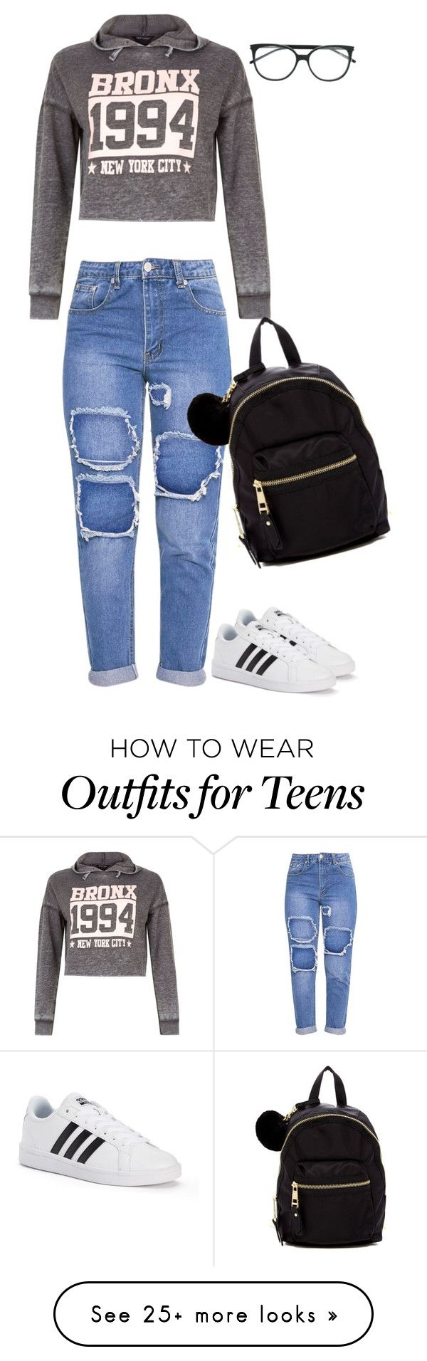 """""""Untitled #328"""" by tired-unicorn on Polyvore featuring New Look, adidas, Madden Girl and Yves Saint Laurent"""