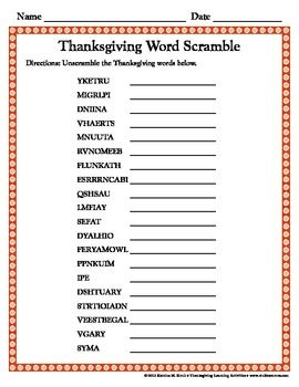 Thanksgiving Activities for Elementary Students
