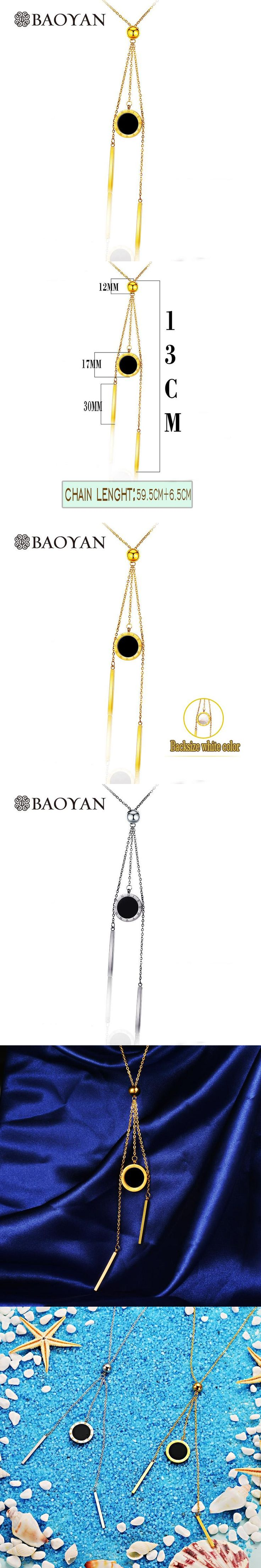 Stainless Steel Silver/ Gold Color Geometric Arabic Number Disc Tassel Necklace for Women A5