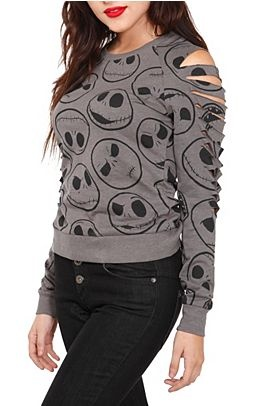 The Nightmare Before Christmas Jack Skellington Heads Pullover | Love The Slash Detailing On The Sleeves! | Perfection For A Hot Topic Junkie With A Flair For The Childish!