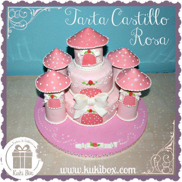 KukiBox - Tarta Castillo Rosa www.kukibox.com #fondant #castillo #princesas #rosa