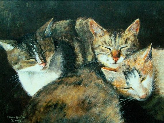 SLEEPING CATS - Fine Art Giclee PRINT after an original painting by Milena Gawlik