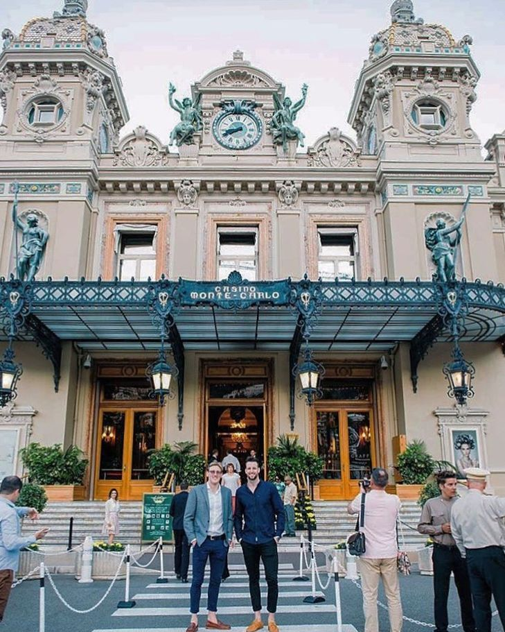 From where we'd rather be. Olympic medalists @james.magnussen and @mackhorton at the Monte Carlo Casino. Rocking our @baredfootwearmens Potassium and Nickel loafers the ultimate travel companions.