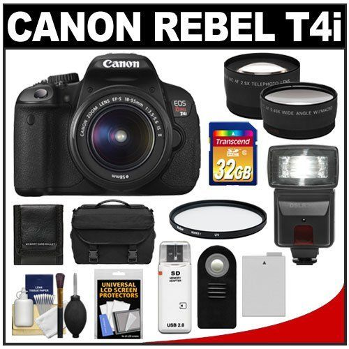 Canon EOS Rebel T4i Digital SLR Camera Body & EF-S 18-55mm IS II Lens with 32GB Card + Flash + Battery + Case + Filter + Remote + Telephoto & Wide-Angle Lenses + Accessory Kit by Canon. $799.95. Kit includes:♦ 1) Canon EOS Rebel T4i Digital SLR Camera Body & EF-S 18-55mm IS II Lens♦ 2) Transcend 32GB SecureDigital Class 10 (SDHC) Card♦ 3) Spare LP-E8 Battery for Canon♦ 4) Vivitar 58mm UV Glass Filter♦ 5) Vivitar RC-6 Wireless Shutter Release Remote Control...