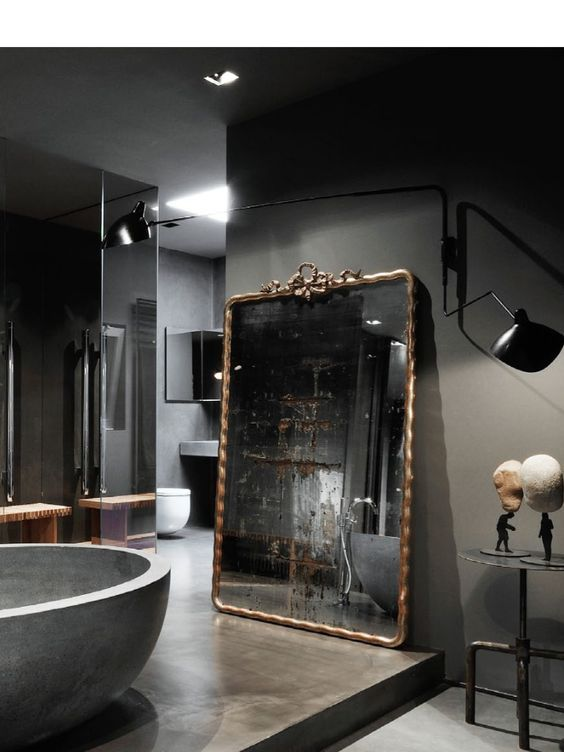 Antique Gilded French Mirror, Matte Gray Walls, Honed Marble Soaking Tub, and Smoked Glass Shower Stall. Such a Handsome and Masculine Bathroom. www.arcantiques.com  #interior #detailing #classic