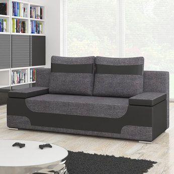 Canapé 2 places convertible gris et noir | Sofamobili