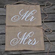 Kaki Mr & Mrs Jute Stoel Banner Set Stoel Teken Guirlande Rustieke Bruiloft Decoratie Rustieke Bruiloft
