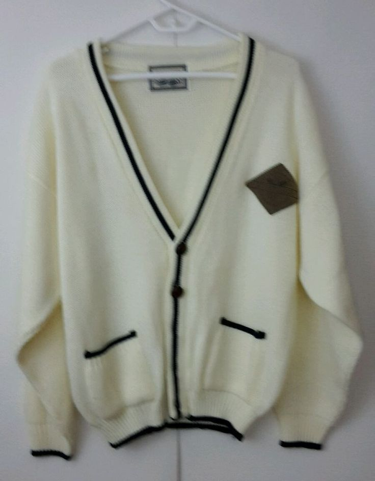 C&A Ivy College Sports Brand  Cardigan Sweater Cream/Navy Blue Trim Men's SZ M  | Clothing, Shoes & Accessories, Men's Clothing, Sweaters | eBay!