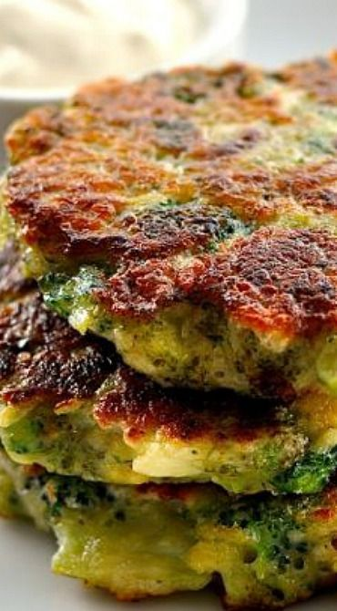 Parmesan Garlic Broccoli Fritters Use almond flour and sour cream instead of flour and yogurt.
