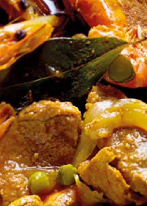 Lombinhos de porco na cataplana com camarão