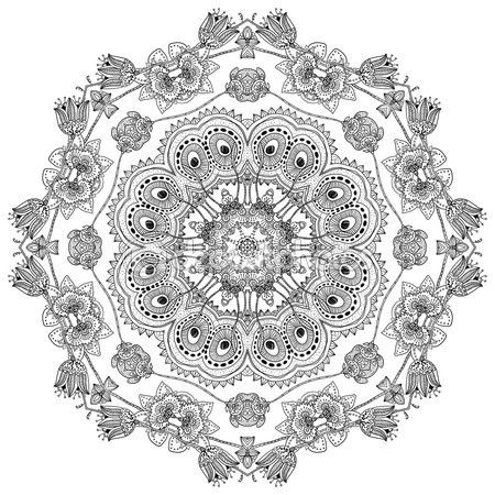 Круглый орнамент, мандалы, этнические декоративный элемент ...