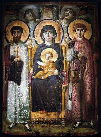 Virgin (Theotokos) and Child between Saints Theodore and George. Early Byzantine Europe.  Sixth or early seventh century C.E. Encaustic on wood. At Mount Sinai Monastery