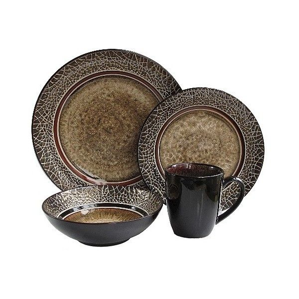 American Atelier Markham 16-Piece Dinnerware Set - Brown ($67) ❤ liked on Polyvore featuring home, kitchen & dining, dinnerware, brown, brown dinner plates, brown dinnerware, earthenware dinnerware, contemporary dinnerware and contemporary dinnerware sets
