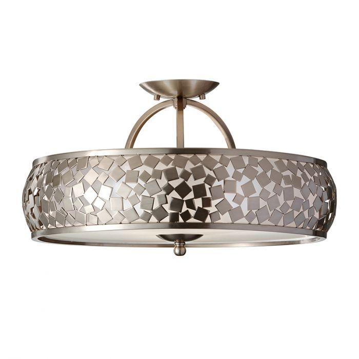 Feiss Zara Semi Flush Ceiling Light Brushed Steel In 2020 Flush Ceiling Lights Semi Flush Ceiling Lights Ceiling Lights