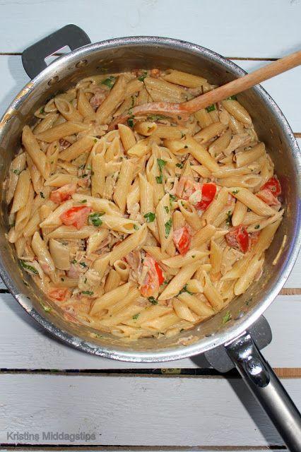 Kristins Middagstips: Kremet penne med kylling, bacon & tomat
