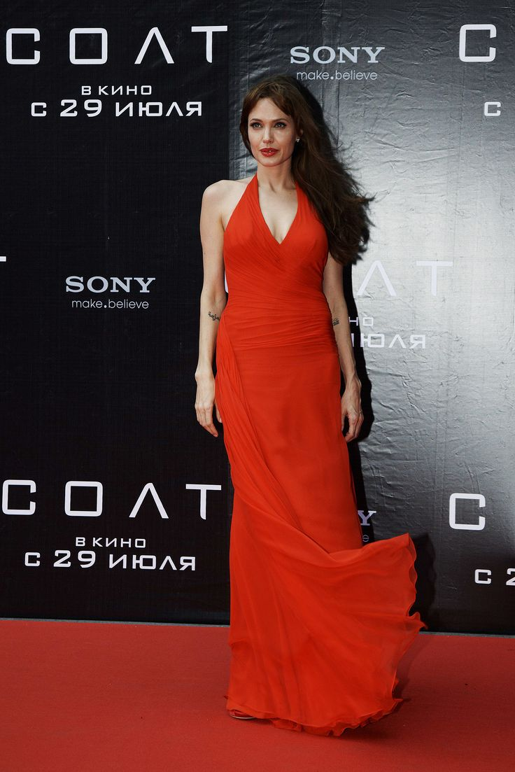 For Salt's 2010 Moscow premiere, Angelina wore a red Atelier Versace gown.