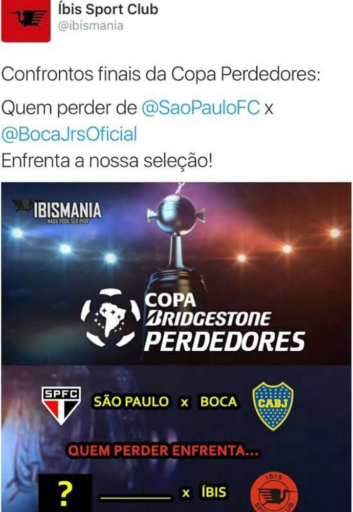Íbis zoação São Paulo e Boca (Foto: Reprodução / Twitter)