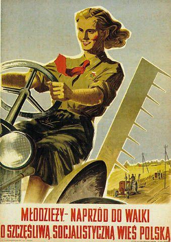 """M.Figur polska traktorzystka..Zdjęcia jakie zrobiono uśmiechniętej dziewczynie w mundurze Związku Młodzieży Polskiej, siedzącej na traktorze  w maju 1949 roku w Wilanowie, posłużyły do całej serii publikacji propagandowych PRL, między innymi socrealistycznych plakatów """"Kobiety na traktory"""", czy """"Młodzieży. – Naprzód do walki o szczęśliwą socjalistyczną wieś polską"""", firmujących sojusz robotniczo -chłopski."""