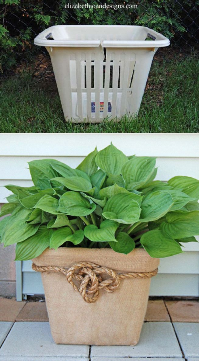 Maceta hecha con una cesta del lavadero - Laundry Basket Planter. What a great idea!