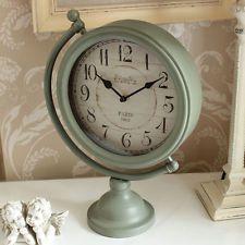 Grey Mantel Clock Free Standing Distressed Aged Antique Vintage Grey/Green Metal