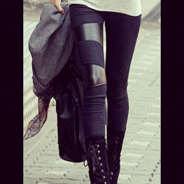 Leather accents on grandglam.blogspot.ca