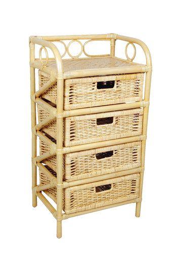 Komoda ORNEBJERG 4 szuflady rattan | JYSK