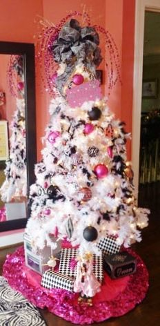 white Christmas tree with pink, black and silver ornaments -- for the home office