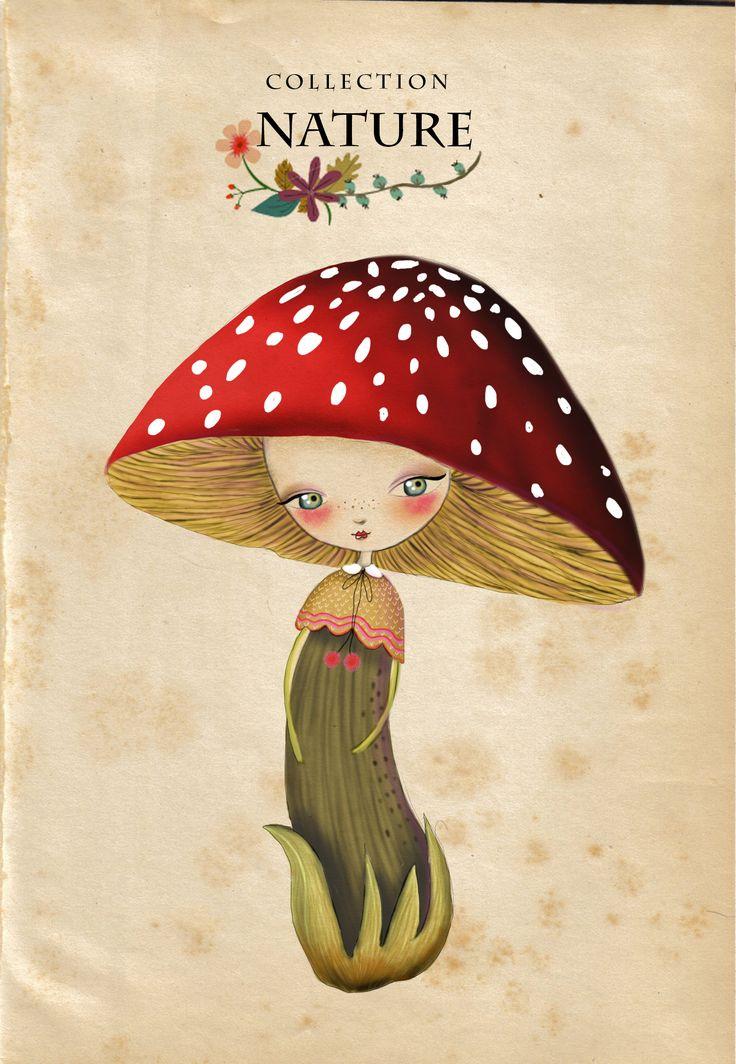 Adorable little mushroom girl illustration