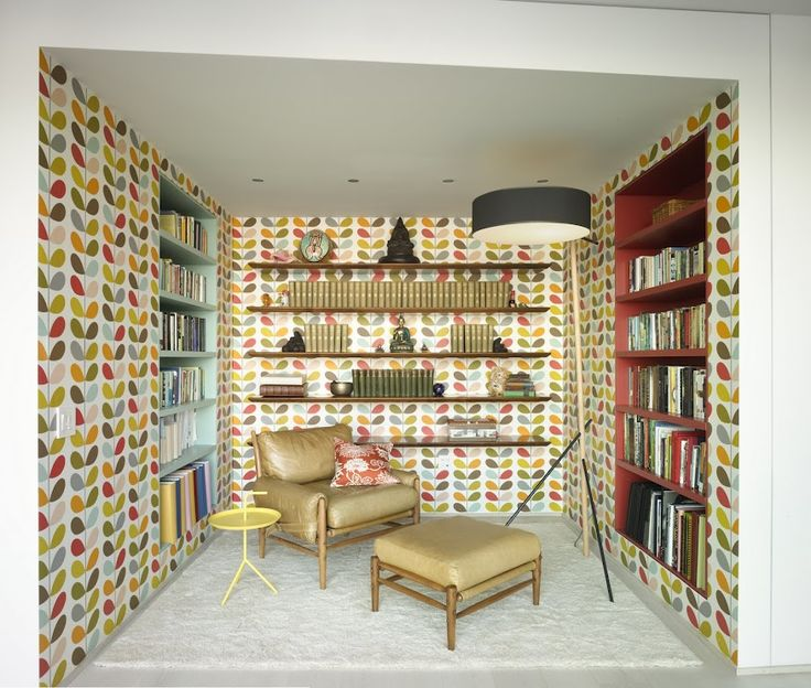 Orla Kiely retro library nook, designed by Incorporated