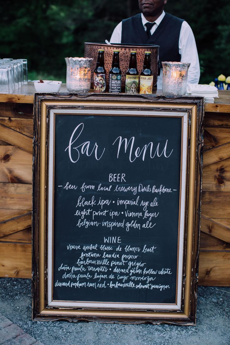 Chalkboard bar menu of beer and wine, framed, wedding reception signage // Agha Photo