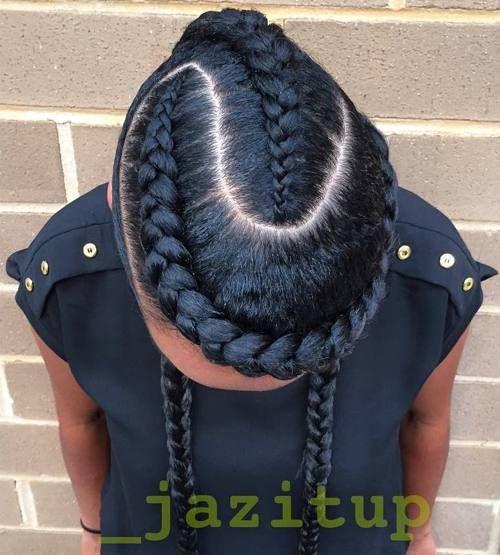 creative braided hairstyle with goddess braids