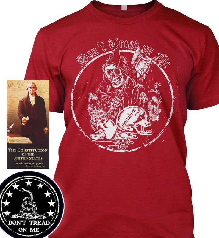 """Bundle of 3 items. Don't Tread on Me: Grimm Reaper. Red T-Shirt 3XL. Made in. Bundle of 3 items: T-shirt, Pocket Constitution & 4.5"""" decal. Official Sons of Liberty Tees® Gear. Made in the USA. Don't Tread on Me Apparel. Screen Printed on a Bayside Brand™ MADE IN AMERICA T-Shirt. Design printed on front of t-shirt. 6.1 oz. 100% Pre-Shrunk American Made Cotton Tee. Premium Cotton Tee. Liberty, Second Amendment, and Patriot Apparel/T-Shirts - made by a small American owned business, by a..."""