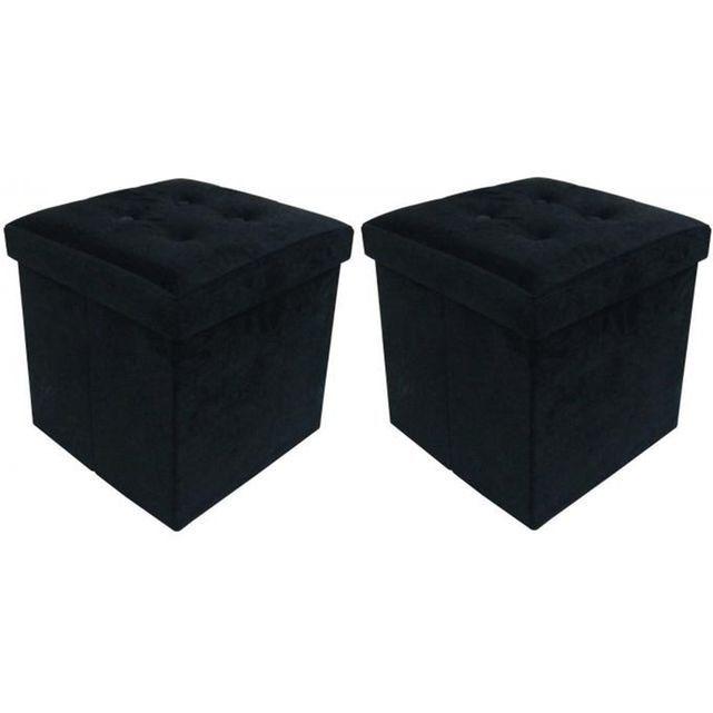 Jeu de 2 Poufs Coffre carré pliant Noir ESSY