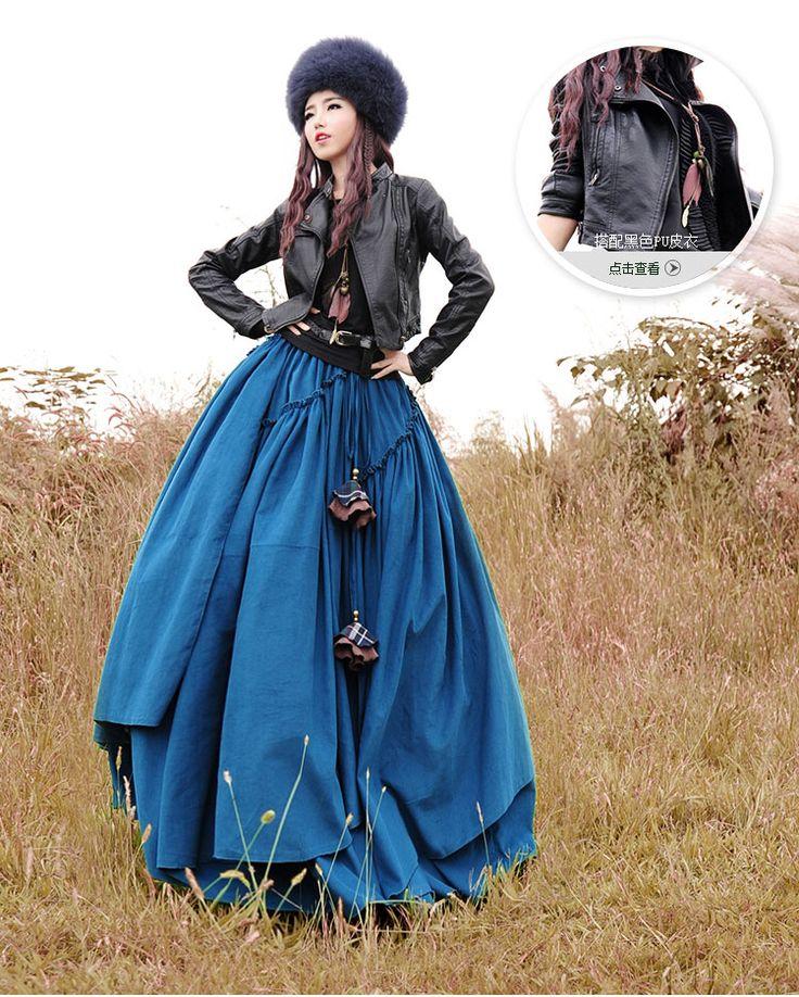 Бесплатная доставка 2015 Boshow осень и зима длиной макси эластичный пояс слоистых юбка с большой подол для женщин вельвет чешские юбки купить на AliExpress