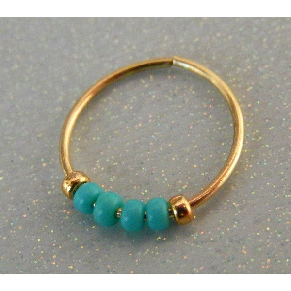 nose ring hoop turquoise nose ring gold nose hoop ($5.95) ❤ liked on Polyvore featuring jewelry, earrings, turquoise gold earrings, blue turquoise earrings, yellow gold earrings, turquoise jewelry and yellow gold hoop earrings