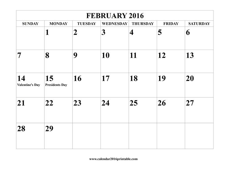 February 2016 Calendar Template, free to download and print.