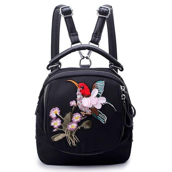 Women Oxford Embroidery Functional Handbag Backpack Shoulder Bag