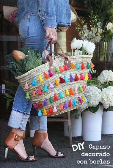 Capazos decorados con borlitas | Holamama blog