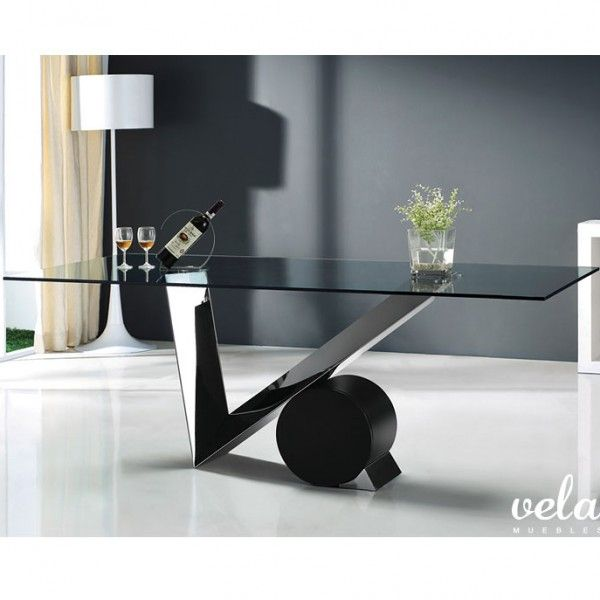 mesa para comedor moderna patas en acero inoxidable con soporte redondo en madera lacada en
