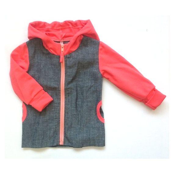Girls jacket denim grey salmon baby girl jacket hooded  by EcoEmi