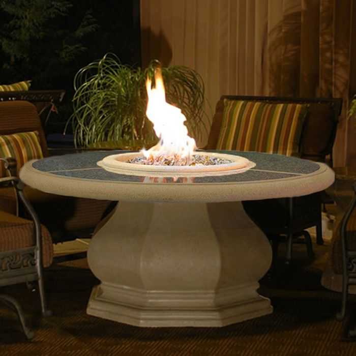 American Fyre Designs Octagon Chat Height Fire Table, Granite Inset Top ||  Choose Between